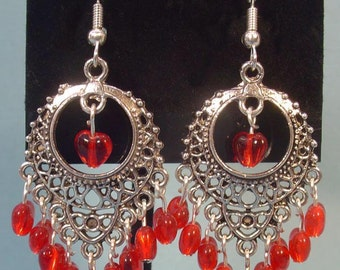 GORGEOUS Red and Antique Silver Chandelier Earrings! - E050