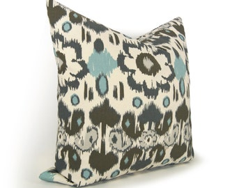 Sale | Ikat Decorative Throw Pillow Case | 12x20, 20x20 or 18x18 | Modern Decor | Cushion Cover in Taupe, Charcoal Gray, Aqua Blue and Ecru