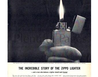 1958 Zippo Lighter Vintage Ad, 1950's Cigarette Lighter, Advertising Art, Magazine Ad, Retro Cigarette Lighter, Great for Framing.