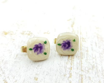 Petite Floral clip earrings Hand painted finish enamel
