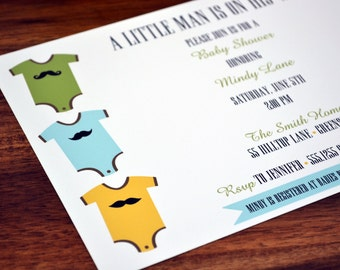 Baby Shower Invitation / Baby Shower Invite / Mustache Baby Invitation / Baby Shower Invite / Mustache Baby Shower / Boys Shower Invitation