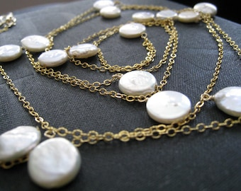 Bridal double wrapped Pearl necklace,  gift for bride, long Coin pearl layered necklace, 14k gold filled chain, bridesmaid