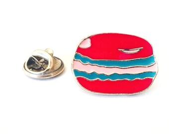 Cute Red Macaroon Enamel Pin for Fiber Shares and Yarn Swaps Lapel Pin