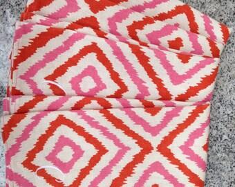 Monogram Pink and Orange Print Dinner Napkin / Cloth Monogram Napkin