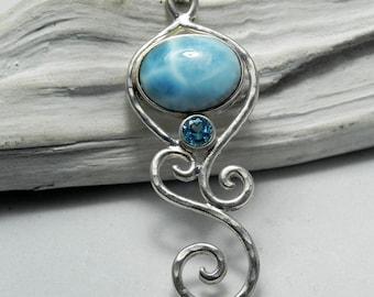 Larimar Necklace - Larimar Blue Topaz Pendant - Mermaid Dreams - Unique Larimar Jewelry - Something Blue