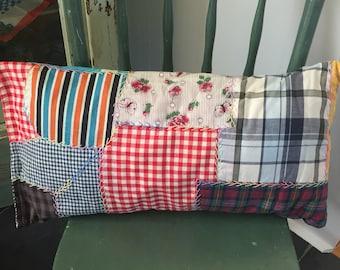 Vintage Handmade Crazy Quilt Pillow