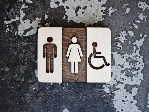 Unisex Restroom Sign Unique Bathroom Decor Modern Interior