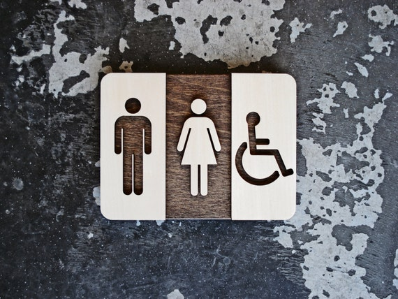 Unisex Restroom Sign Unique Bathroom Decor Modern Interior