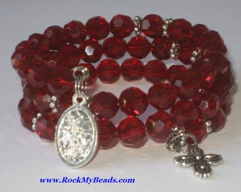 Red memory wire rosary bracelet,rosary,religious bracelet,praying beads,wrap rosary,rosary beads,prayer beads,wrap bracelet
