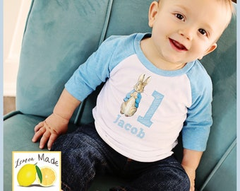 Peter Rabbit bunny shirt for boys with name and digit blue raglan sleeves