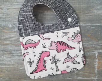 NEW item: Infant Drool Bib- Pink Dinos