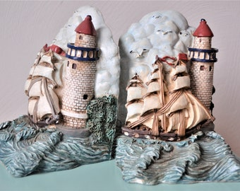 NAUTICAL BOOKENDS Ship on Water with Lighthouse Bookends Tropical Home Decor Shelf Decor