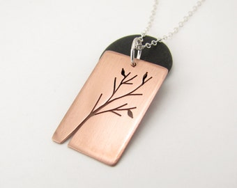Madrona Tree Art hand pierced copper pendant - made to order