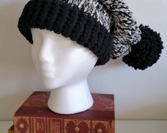 Slouchy Hat in Black & White - Super Soft!