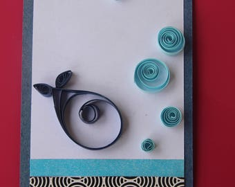 Handmade Fish Quilling Card with Blue Bubbles, Under the Sea Card