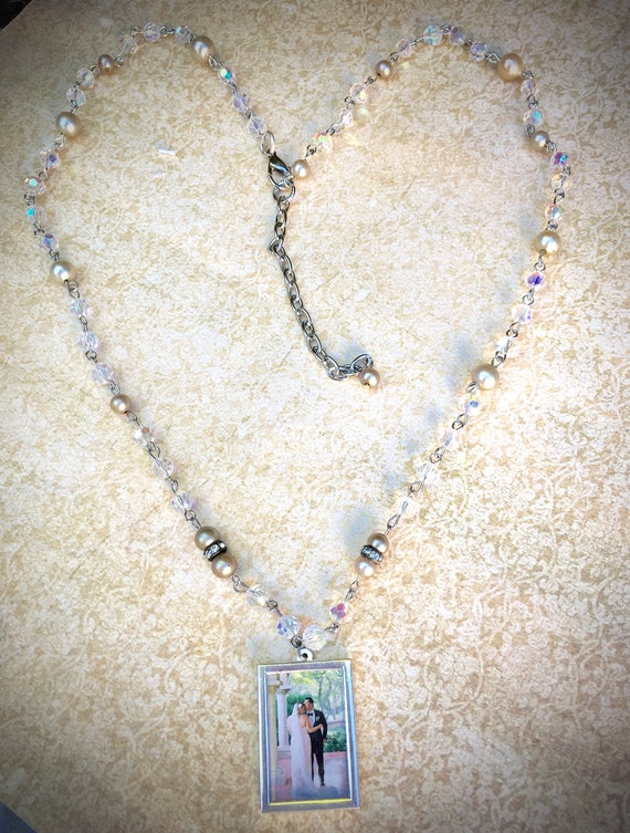 Photo Charm Necklace- Mommy Vintage Assemblage Rosary Locket Charm- Bride to Be Necklace- Mother of Bride- Grad Gift- Personalized Gift
