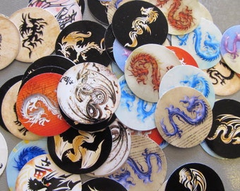 dragon precut circles 1 inch for bottle cap or bezel jewelry making