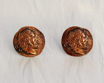 Vintage copper cuff links with Grecian profile, cufflinks made like ancient coins