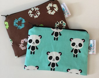 Reusable Snack Bag, Reusable Zipper Bag, Reusable Sandwich Bag, Zipper Pouch, Reusable, Panda Snack Bag, Lunch Bag, Reusable Bag, Recycle