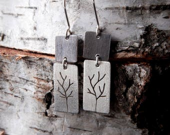 Trees Long Earrings - Sterling Silver Dangle Earrings - Oxidized Silver Drop Earrings - Nature Inspired Jewelry - Perfect Gift