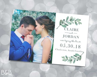 Custom Photo Save the Date Postcard with Succulent Accents