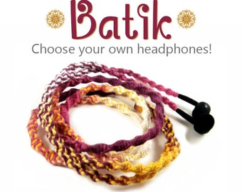 Wrapped Earbuds | Tangle Free Custom Headphones | Batik Jewel Yoga Festival Earphones | iPhone 8, iPhone X Earpods, Android, Sony Skullcandy