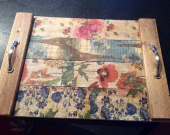 Rustic decoupaged wood serving tray custom