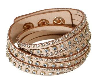 Winding bracelet * glitter stones brown Transparent