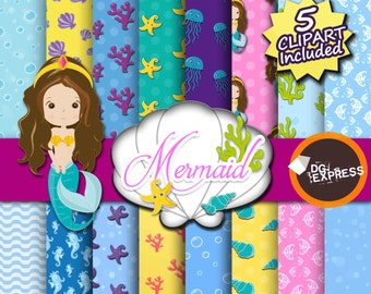 SALE Mermaid Digital Paper -Ocean Clipart, Sea Scrapbook Paper, Ocean Digital, Mermaid Clipart, Nautical Printable, Sea Shells, Starfish