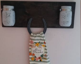 Rustic Towel Holder/ Mason Jar Holder