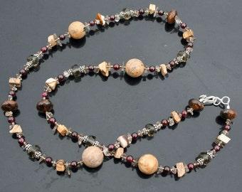 CASABLANCA Necklace (Garnet, Smoky Quartz, Bronzite, Picture Jasper)