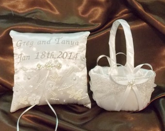 flower girl basket and ring bearer pllow white or ivory color satin embroidered