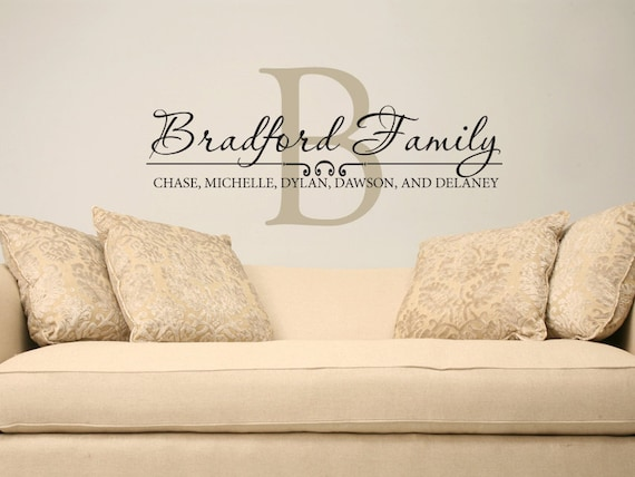 Family Name Wall Decal Custom Personalized Name Vinyl Wall