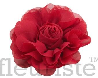 Red Chiffon Flower, Wholesale Flower, Fabric Flower, Headband Flower, Wedding Flower, Flower Embellishment, Diy Flower, DIY Headband