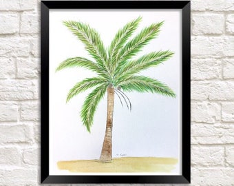 Palm tree Painting, palm illustration, Tropical painting, beach artwork, original watercolor, pen and ink, Coastal painting, Florida art