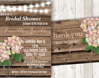 Rustic Bridal Shower Invitation Hydrangea Bridal Shower Invite Hydrangea Invitation Hydrangea Invite Printable Bridal Shower Invite BSRU05