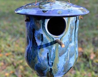 Handmade pottery birdhouse, birthday gift, ceramic birdhouse, wedding gift, garden art, Snowy Mountain Chalet