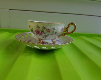 Vintage Japanese Footed Tea cup and saucer