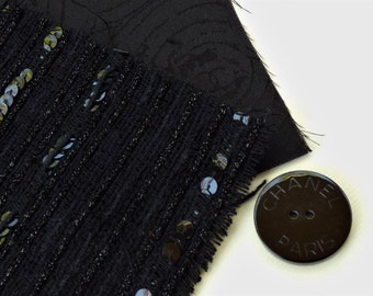 Chanel Black Spangle Fabric Button Swatch