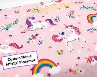 Custom Name Unicorn Placemat (Gift For Unicorn Lover, Cotton Placemat, For Children, Montessori Lunch, Reusable Placemat, Picnic Placemat)