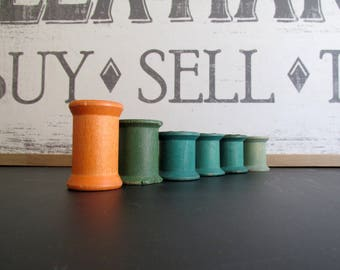 Wood Thread Spools Wood Spools Orange Green Craft Supply Six Wood Spools Doll Making