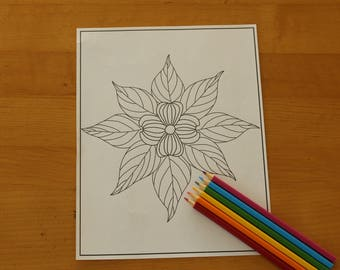 Simple Dogwood Mandala Coloring Page- Instant Download Adult Coloring Page Hand Drawn