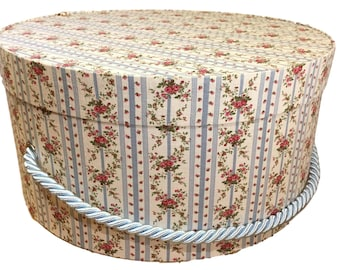 Hat Box in Blue Floral Stripe. Ready to ship! Round Box, French Cottage Decor, Fabric Covered Box, Box w Lid, Keepsake Box, Decorative Box