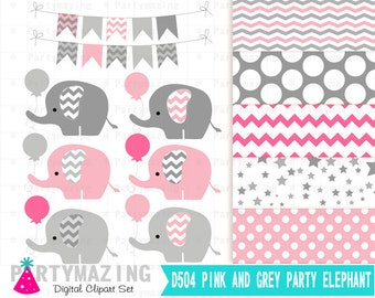 Pink Baby Elephant Clipart Set, Grey Chevron Baby with Balloon, Cute Nursery Decor, Digital Paper Pack, Shower Set -D504