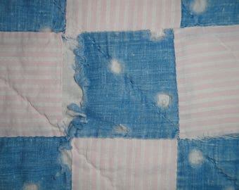 Old Blue Quilt Piece | Vintage Quilt Piece | Antique Quilt Piece | Cutter Quilt Piece | Primitive Quilt Block | Quilt Piece For DIY