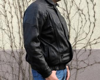 Leather jacket man gift Black jacket Genuine leather bomber Large zipper jacket Real leather Motorcycle jacket Aviator jacket gifts for him