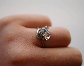 Size 8 14k Gold Diamond Ring, Raw Diamond Engagement Ring Solid Gold Ring Rough Diamond Ring Raw Diamond Ring, Avello, Gifts for her, Wife