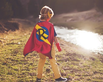 Kids Superhero Costume - Easter Ready PERSONALIZED Boys Superhero Cape - Choose an Initial