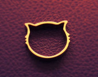 Handmade ring 14k Tiny gold Ring KITTY KAT Yellow Gold