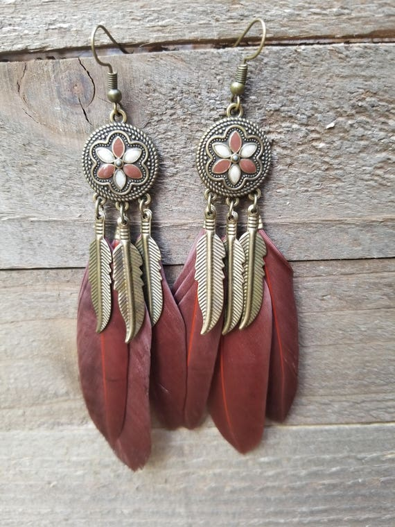 Brown Feathers Flower Base Drop Down Dangle Native American Earth Jewelry Hippie Boho Natural Style